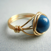 Swarovski Lapis Ring - Wire Wrapped Ring - Custom Size Ring