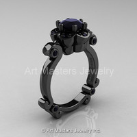 Art Masters Caravaggio 14K Black Gold 1.0 Ct Black Diamond Engagement Ring R606-14KBGBD