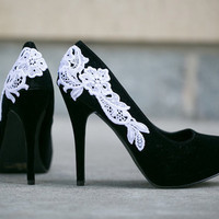 Black Heel With Venise Lace Applique. Size 10.