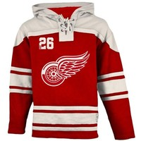 Old Time Hockey Detroit Red Wings Lace Jersey Team Hoodie - Red