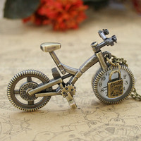 Vintage pocket watch necklace with antique bronze bicycle pendant and lock