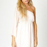 Corah Chiffon Asymmetric Flute Sleeve Dress at boohoo.com