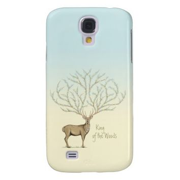 Deer with large antlers and flowers Galaxy S4 case