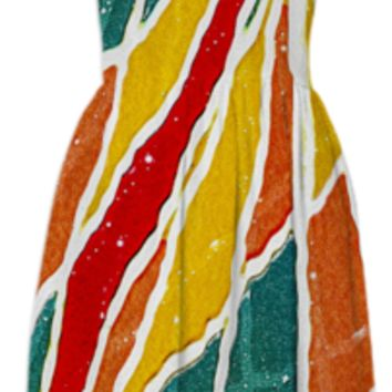 Multicolored Vibrations All Over Printed Summer Dress created by Rudimencial Design | Print All Over Me