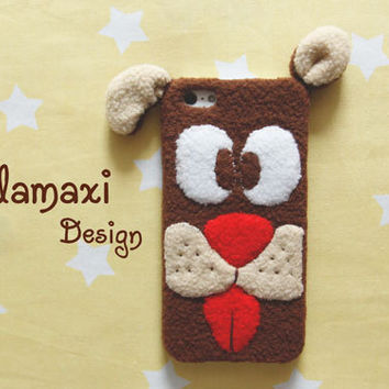Handmade Little Puppy Phone Case, Fluffy Dog iPhone Case, Handcrafted Fleece Dog Case for iPhone 4/4S/5/5S/5C, Custom Phone Case, Gift Ideas