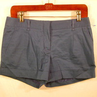 BCBG Maxazria Steel Blue pleat front cuffed mini shorts sz 2 xs-small stretch