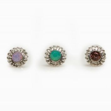 MIXED STONE EARRING TRIO