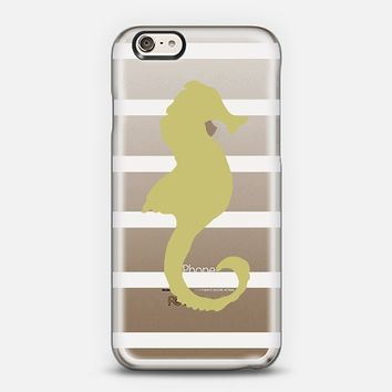 Seahorse Tan White Stripes (Transparent/Wood) iPhone 6 case by Lisa Argyropoulos | Casetify
