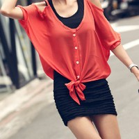 New style Hollow Buttons Braces Chiffon T-shirt_Tees / t-shirts_Women_MartOfChina.com- wholesale cheap fashion dresses, wholesale lots of cheap clothing.