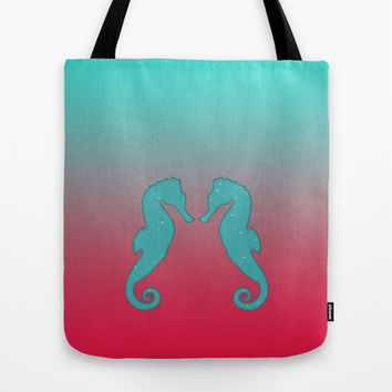 Aqua seahorses Tote Bag by eDrawings38 | Society6