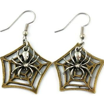 Surgical Steel Dangle Earrings Halloween Gothic Spider Queen