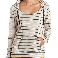 Oversized Striped Scoop Neck Hoodie by Charlotte Russe - Black Combo