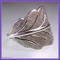 One Detailed leaf ear cuff earring jewelry. Antiqued silver, Earcuff for men and women
