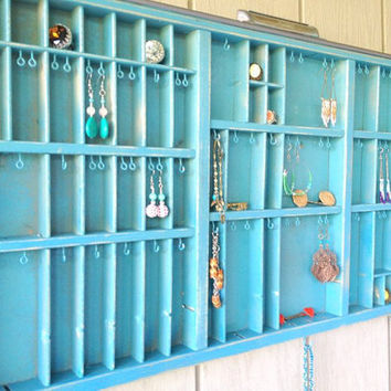Turquoise Printers/Letterpress Drawer Jewelry Display
