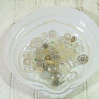 Vintage Variety Clear Glass & Plastic Buttons Collection - Buttons for Repurposing Upscaling Upcycling - 90 Buttons