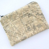 Paris Map on Beige Small Zipper Pouch by tacdesigns on Etsy