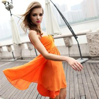 Bqueen Spliced Sexy Dress Orange FQ297C - Designer Shoes|Bqueenshoes.com