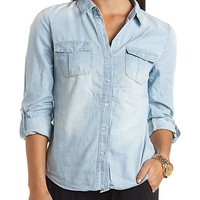 COLLARED BUTTON-UP CHAMBRAY TOP