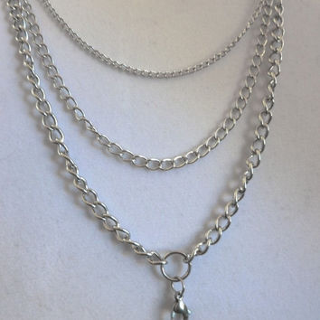 "32"" Triple Chain for Floating Lockets and Dangles - Stainless Steel High Quality Link Chain"