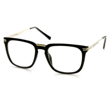 Indie Fashion Large Metal Accented Horned Rim Clear Lens Glasses 9411