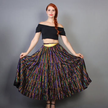 70s Ethnic METALLIC SKIRT / Rainbow Metallic Stripe Black Maxi, xs-s