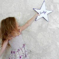 Custom Name Star Wall Decor /  Star Home Decor / Purple and White / Bamboo and Stucco / wall art