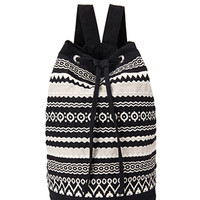 FOREVER 21 Tribal-Inspired Backpack Black/Cream One