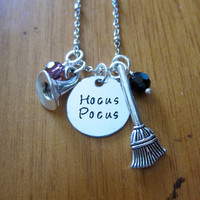 Disney's Hocus Pocus Inspired Halloween Necklace. Witch Hat. Witches Broom. Swarovski Crystals. Silver colored. Hand Stamped. Free shipping
