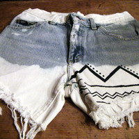 Distressed, Bleached, Tribal, Highwaisted Jean Shorts
