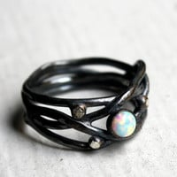 Handmade Oxidized Sterling Silver Opal Nest RIng by by luckyduct