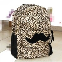 Generic Hot Travel Girl lady Mustache Canvas Leopard School Book Campus Bag Backpack:Amazon:Beauty