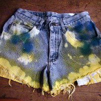 Unraveled, Bleached, Tie-Dyed Jean Shorts