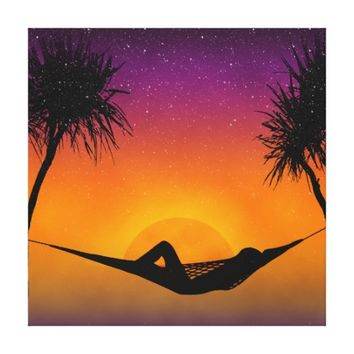 Tropical Hammock Sunset Silhouette Design