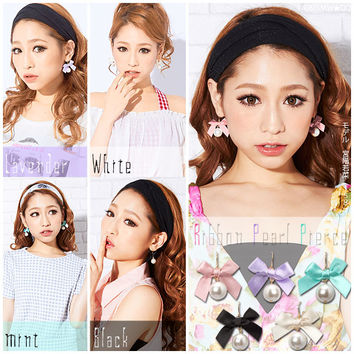 5 colors bowknot&pearl earings