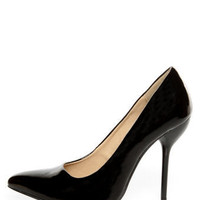 Fahrenheit Zara 02 Black Patent Pointed Pumps - $34.00