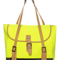 Marvelous Neon Yellow Tote - Vegan Purse - $42.00