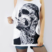 ZOMBIE BOY Rick Genest  Skull Tattoo Rico Mugler Fashion Model Tattoo Vest Women Skull Tank Top Women Shirt Skull Tunic Top Size S M