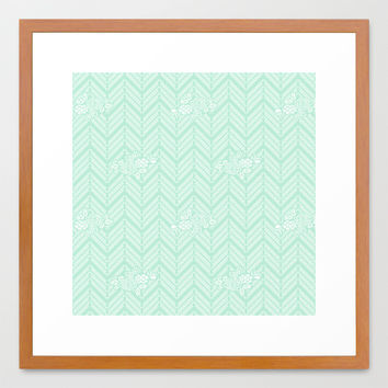 Pastel Mint Chevron Floral Framed Art Print by BeautifulHomes