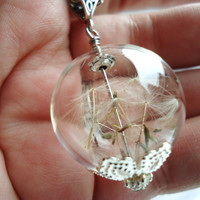 Real Dandelion Seed Glass Orb Necklace On Silver Chain - Lucky You
