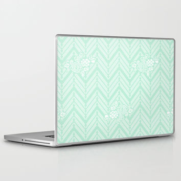 Pastel Mint Chevron Floral Laptop & iPad Skin by BeautifulHomes
