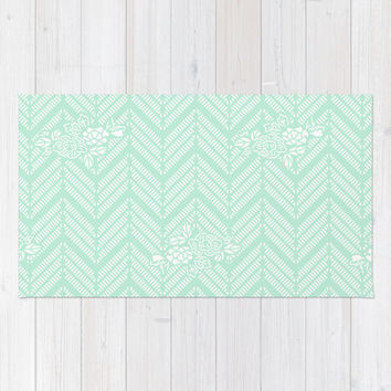 Pastel Mint Chevron Floral Area & Throw Rug by BeautifulHomes