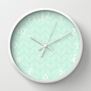 Pastel Mint Chevron Floral Wall Clock by BeautifulHomes