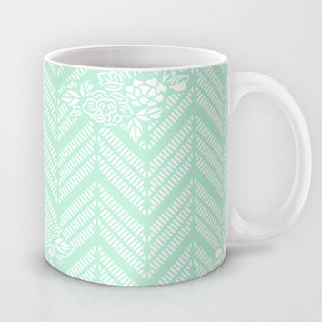 Pastel Mint Chevron Floral Mug by BeautifulHomes