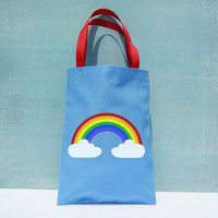Rainbow Favor Bags : Set of 6 Rainbow Party Goodie Bags