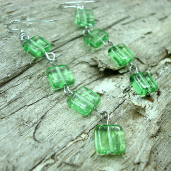Light Green Earrings, Birthday Gift for Her, Long Beaded Earrings, Czech Glass Jewelry