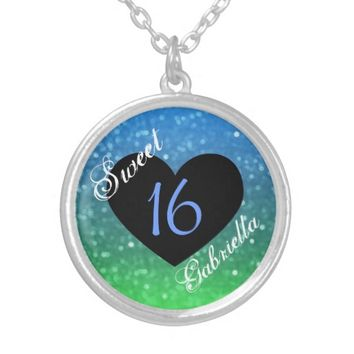 Personalized: Blue And Green Sweet 16 Necklace