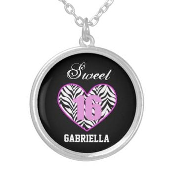 Personalized: Zebra Heart Sweet 16 Necklace