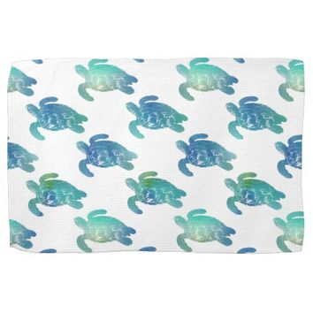 Sea Turtle Blue Green Kitchen Towel