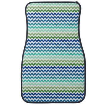 Chevron White Blue Green Seascape Car Mats