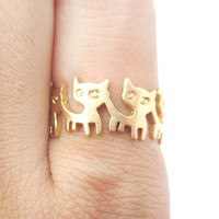 Connected Kitty Cat Parade Animal Ring in Gold | US Size 7 and 8 Only -